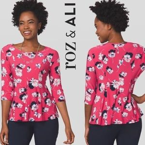 Roz and Ali Pink Floral Peplum 3/4 Length Sleeves